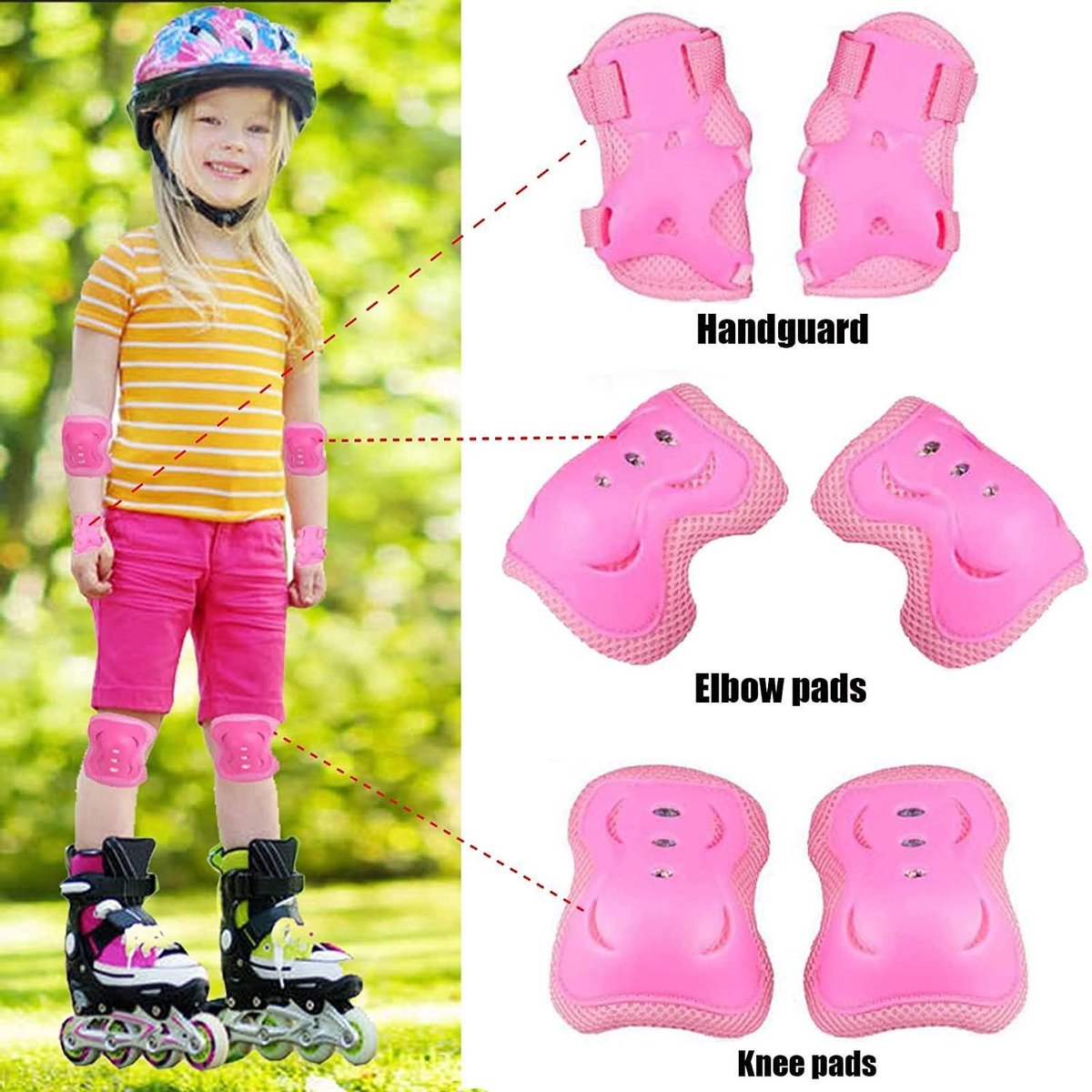 Kids Beschermende Gear Set, Kids Knie Pads Set-Knie Pad Elleboog Pols Pads Verstelbare 6 in 1 Veiligheid voor Kinderen Schaatsen Skateboarding Scooter Fietsen Fiets BMX Sport