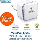 Eminent EM4594 WiFi Versterker Stopcontact 3 stuks - Acces Point - Wireless N - 2,4Ghz - 300 Mbps