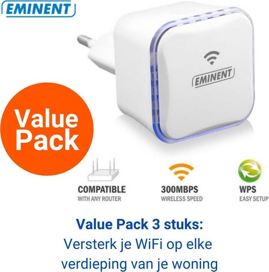 Eminent WiFi Repeater 3 stuks - Acces Point - Wireless N - 2,4Ghz - 300 Mbps – Wifi Versterker stopcontact - EM4594