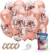 Fissaly® 40 stuks Rose Goud Helium Ballonnen met Lint – Decoratie – Papieren Confetti – Roze Gold Latex - Geslaagd & Afgestudeerd