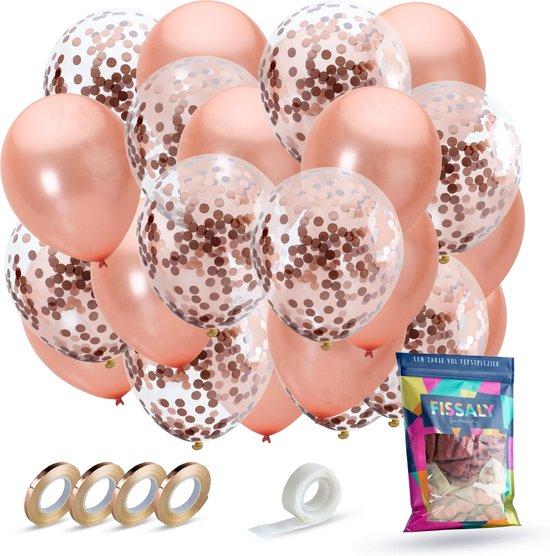 Fissaly® 40 stuks Rose Goud Helium Ballonnen met Lint – Decoratie – Papieren Confetti – Roze Gold Latex