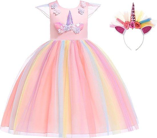 Unicorn Jurk | Eenhoorn Jurk | Prinsessenjurk Meisje | Verkleedkleren Meisje |maat 98/104(110)|Prinsessen Verkleedkleding | Carnavalskleding Kinderen | + GRATIS Haarband | Roze