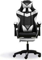 Game Stoel Racing - Gaming Chair - Gamestoel - Met voetsteun - Zwart - Wit  - 2 Extra Kussens