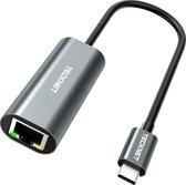 Tecknet USB-C naar Internet / Ethernet LAN Netwerk adapter - 10/100/1000Mbps - Zwart