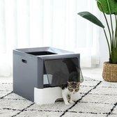 Hygiënische Gesloten Kattenbak - voor Grote en Kleine Katten/Kittens - met Lade en Filter - Inclusief Schep - Makkelijk Schoonmaken - Grijs L