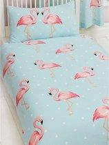 Flamingo's 1 persoons dekbedovertrek - Flamingo dekbed - 135 x 200 cm