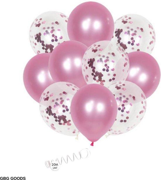 GBG 20 stuks Roze Ballonnen met Lint – Decoratie – Feestversiering - Papieren Confetti – Pink - Pink Latex - Verjaardag - Bruiloft - Feest