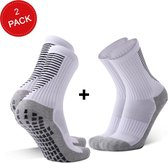 MyStand® Gripsokken Voetbal Unisex duo pack - Wit + Wit (2 paar) - One Size