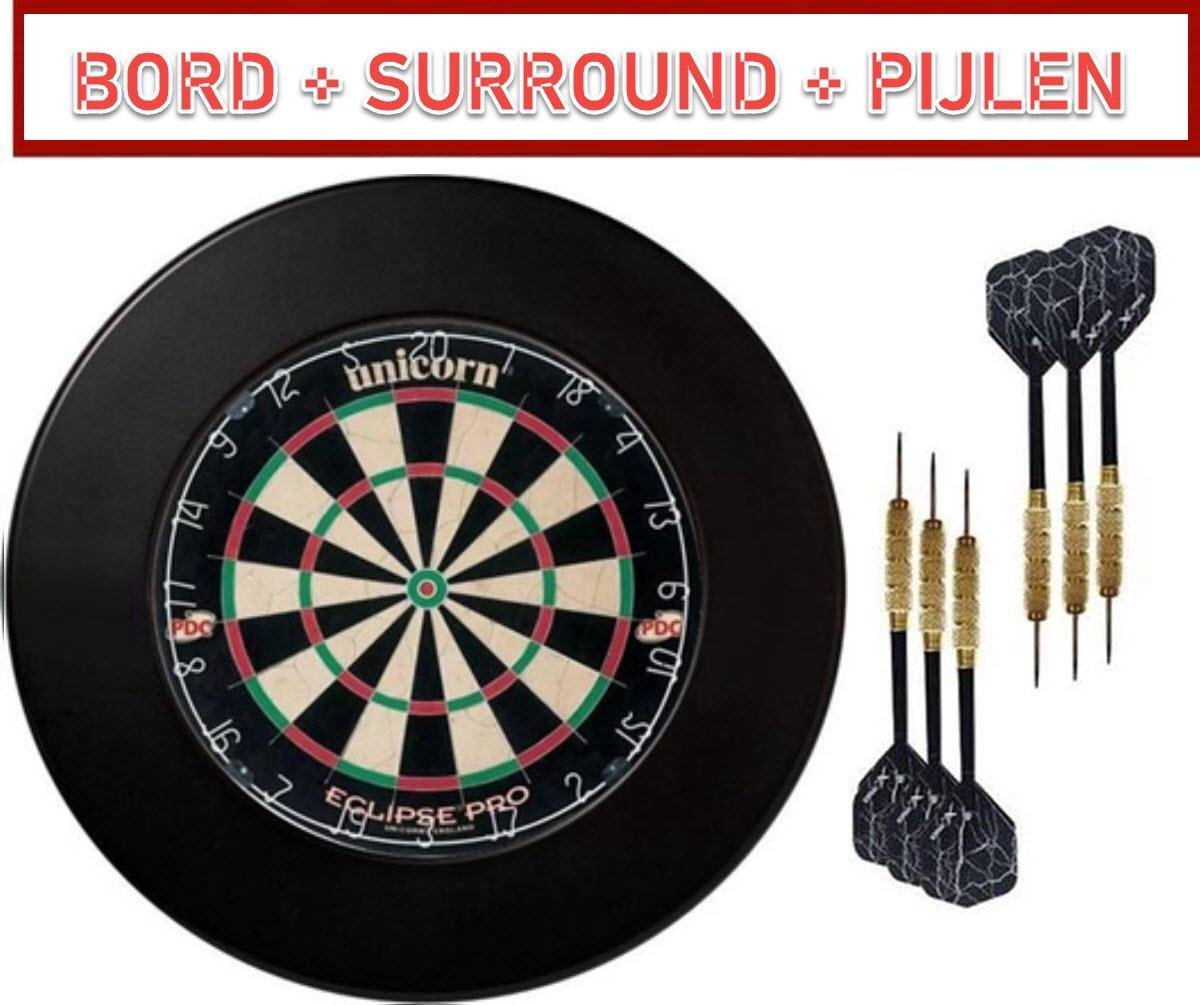 dartbord unicorn set met surround ring + 3 dartpijlen| darts - professioneel voor volwassenen - oche - darts accesoires