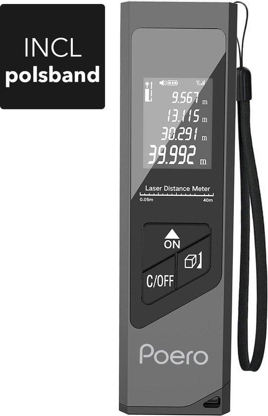 Poero Professionele Laser Afstandsmeter - 40 meter bereik - USB-oplaadbaar -...