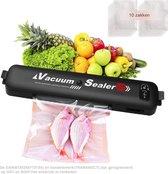 vacumeermachine - vacumeer sealer- met 10 x vaccumzakken - voor groente, fruit, vlees, vis en ander vers voedsel - Zwart
