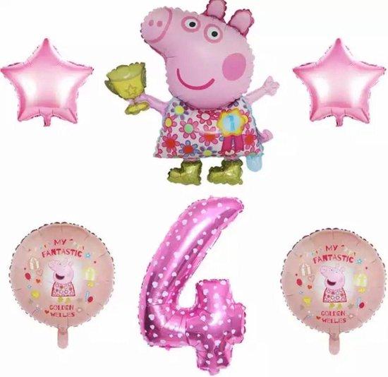 Peppa Pig folie ballonen 6 stuks Decoratie Kinderen Verjaardag Ballon Nummer 4