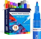 Afbeelding van QBIX Verfstiften - Acrylverf - Acrylstiften Set van 18 Kleuren - Geschikt voor alle ondergronden - 1mm
