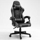 Alora Gaming stoel X-TREME - Grijs/Zwart - Met Nekkussen & Verstelbaar Rugkussen - Kunstleer - Gamstoel - Game Stoel - Gaming chair - Bureaustoel