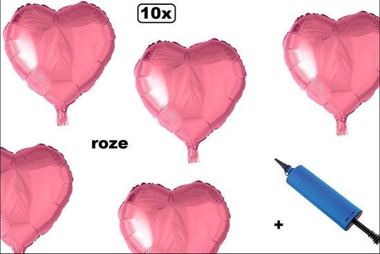 10x Folieballon hart rose 45cm + pomp - Trouwen huwelijk hart liefde themafeest party valentijn verliefd
