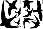 Raamstickers Vogels - 9 stuks - Vogelbescherming assortiment - Buiten en Binnen - inclusief (zwaluw - arend - eend - duif)