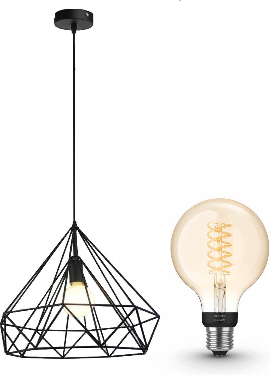Jotaeme Arty hanglamp - LED - zwart - 1 lichtpunt - incl. Philips Hue White Filament Globe klein E27
