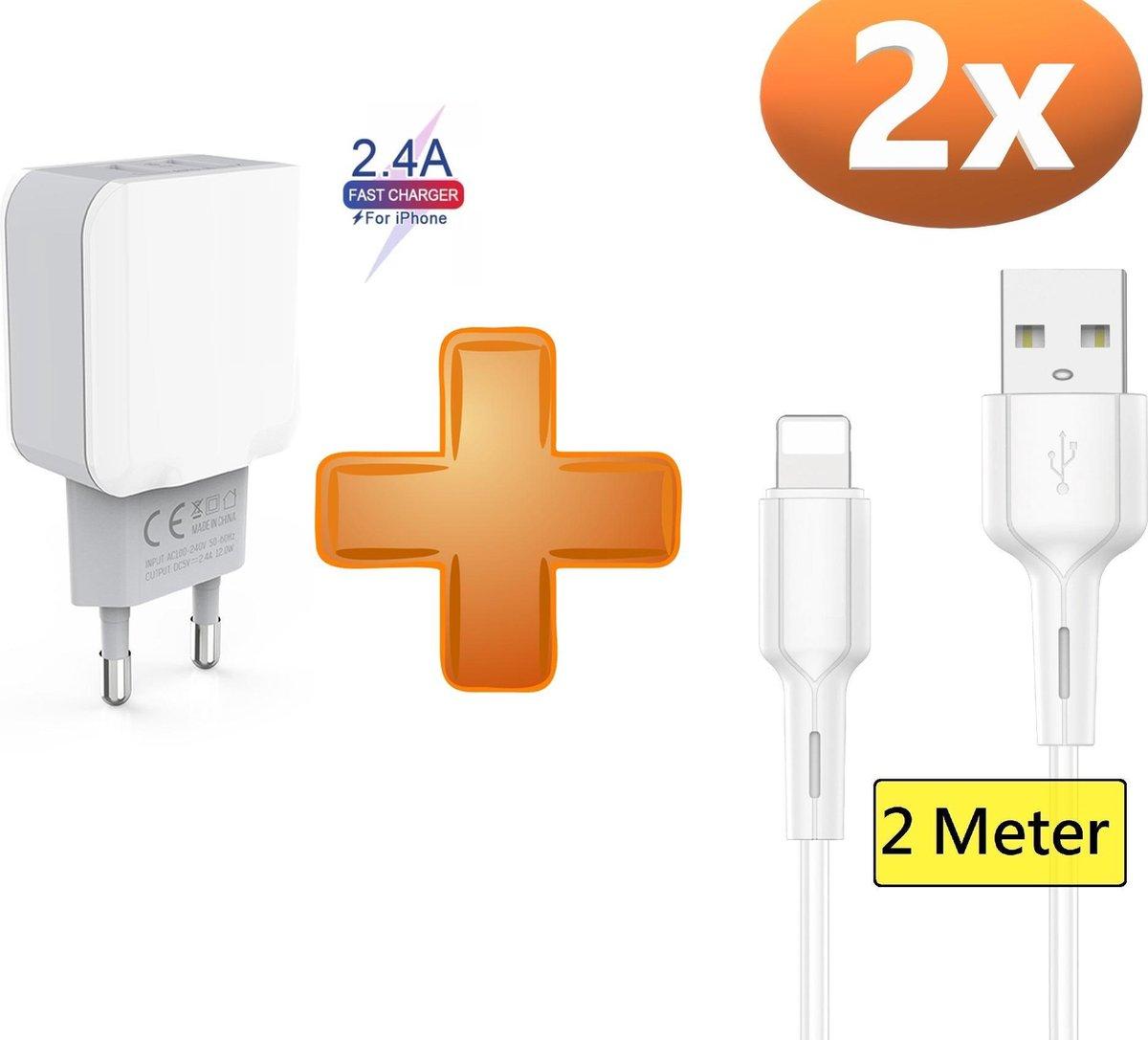 iPhone oplader kabel geschikt voor Apple iPhone 6,7,8,X,XS,XR,11,12,Mini,Pro Max- iPhone kabel - iPhone oplaadkabel - iPhone snoertje - iPhone lader