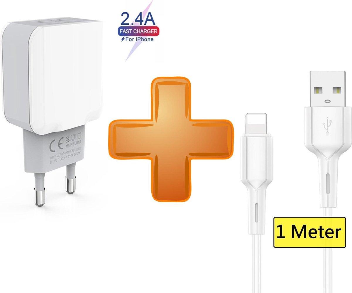 iPhone oplader kabel geschikt voor Apple iPhone 6,7,8,X,XS,XR,11,12,Mini,Pro Max- iPhone kabel - iPhone oplaadkabel - iPhone snoertje - iPhone lader 2 Meter