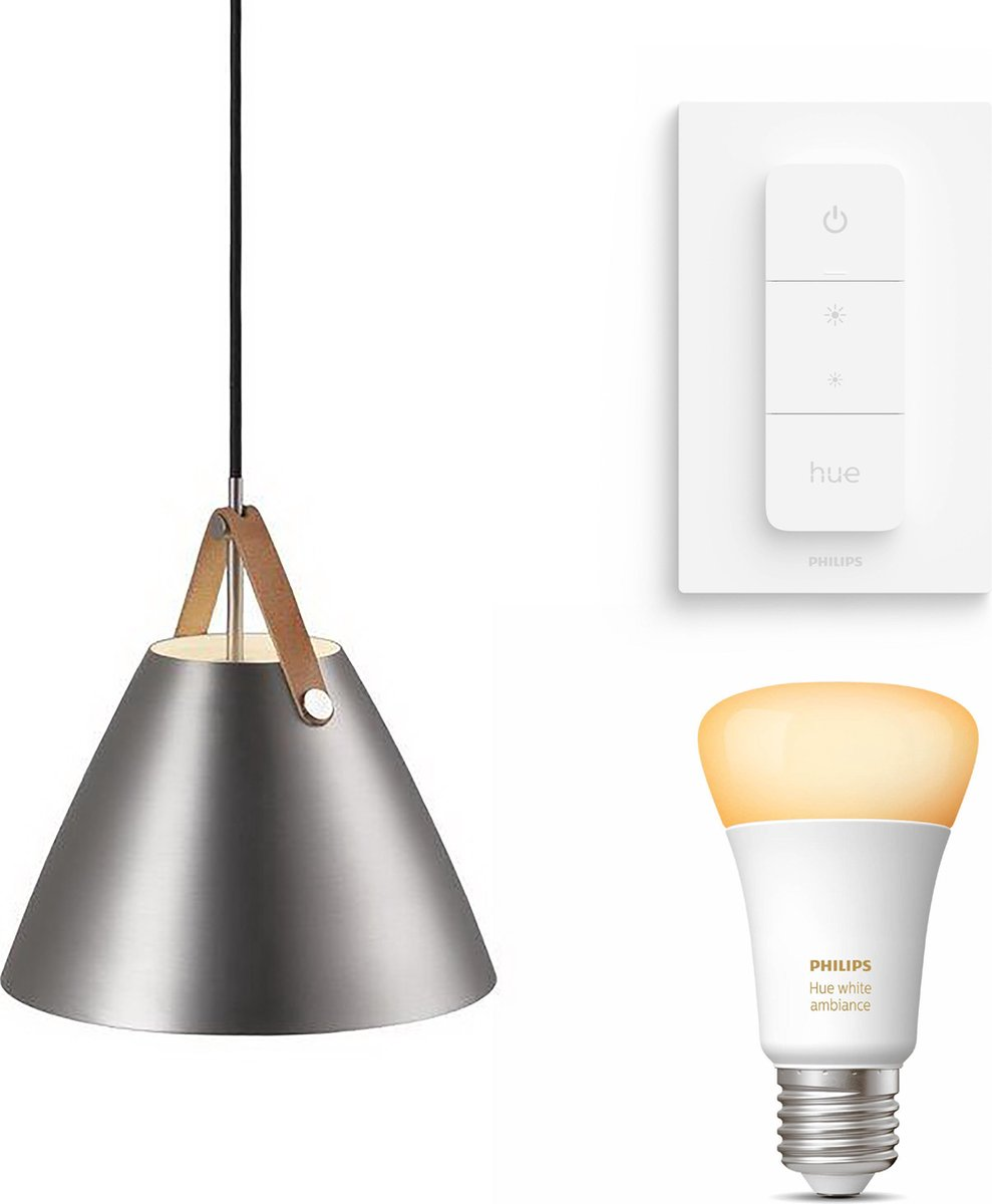 Nordlux Strap 48 hanglamp - LED - mat chroom - 1 lichtpunt - Incl. Philips Hue White Ambiance E27 & dimmer