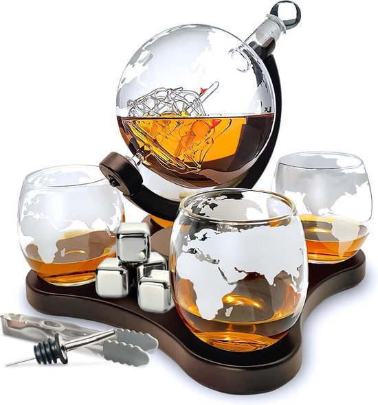 Whisiskey® Whiskey Karaf - Wereldbol - Luxe Whisky Karaf Set - Whiskey Set - 0,9 L - Decanteer Karaf - Incl. 4 RVS Whiskey Stones, Schenktuit en 4 Whiskey Glazen - Cadeau voor Man & Vrouw