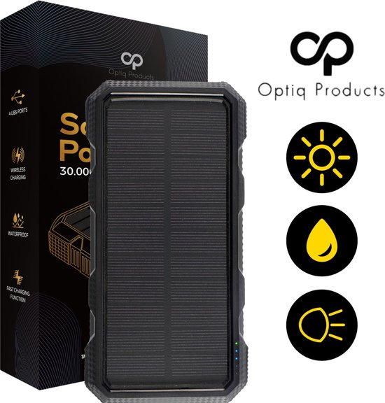 Optiq Products – Powerbank – 30000 mah – Solar Powerbank – Wireless -Zonne...