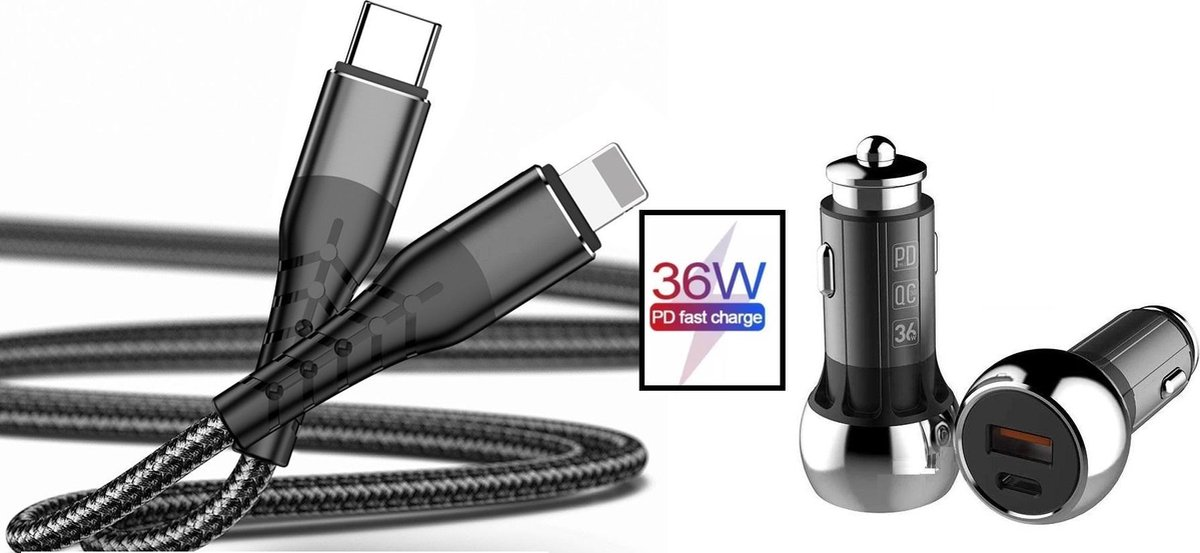 Autolader USB-C Poort + iPhone oplader kabel - Snellader - Auto Lader Geschikt voor iPhone & iPad - Sigarettenaansteker oplader