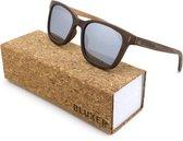 Bluxer® Zonnebril voor Heren en Dames Polaroid - Hippe Houten Zonnebril Gepolariseerd - UV400 Lens - Walnut Veneer - Zilvere Lens