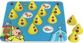 Bumba - Spel - Houten memo spel - zoek dezelfde afbeeldingen onder de Bumba hoedjes - 8 spelvarianten
