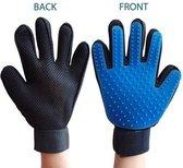 Borstel handschoen voor honden en katten - Vacht - Klittenkam - Huisdieren - Blauw Rechter Hand