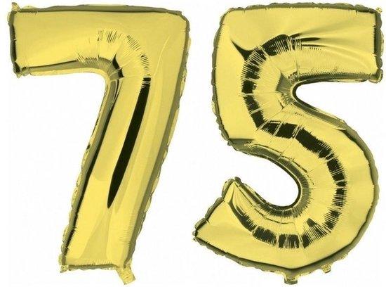 75 jaar gouden folie ballonnen 88 cm leeftijd/cijfer - Leeftijdsartikelen 75e verjaardag versiering - Heliumballonnen