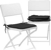 relaxdays stoelkussen set 4 stuks - kleurrijke zitkussen - 40x40 stoel kussen - wasbaar zwart