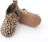 Babyslofjes - Luipaardprint - Echt Leder - Babylaarsjes - Kraamcadeau - Baby's Eerste Schoentjes