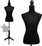 vidaXL - Paspop Vrouwen torso etalagepop flueel (zwart)