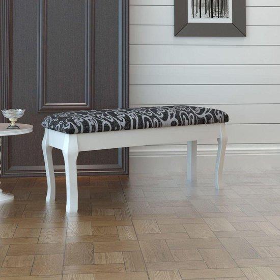 vidaXL - Poef Gestoffeerde poef / tweezits toilettafel ZWART 110 cm