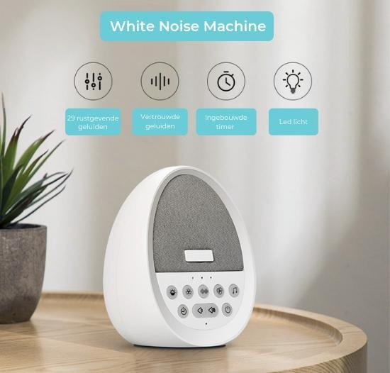 Slaaphulp om Slaapproblemen te Verminderen - White Noise Machine met Slaapmuziek voor een Goede Nachtrust - Wetenschappelijk Bewezen Slaaptherapie – Beter Slapen met Witte Ruis – Slaap Tips Volwassenen/Baby