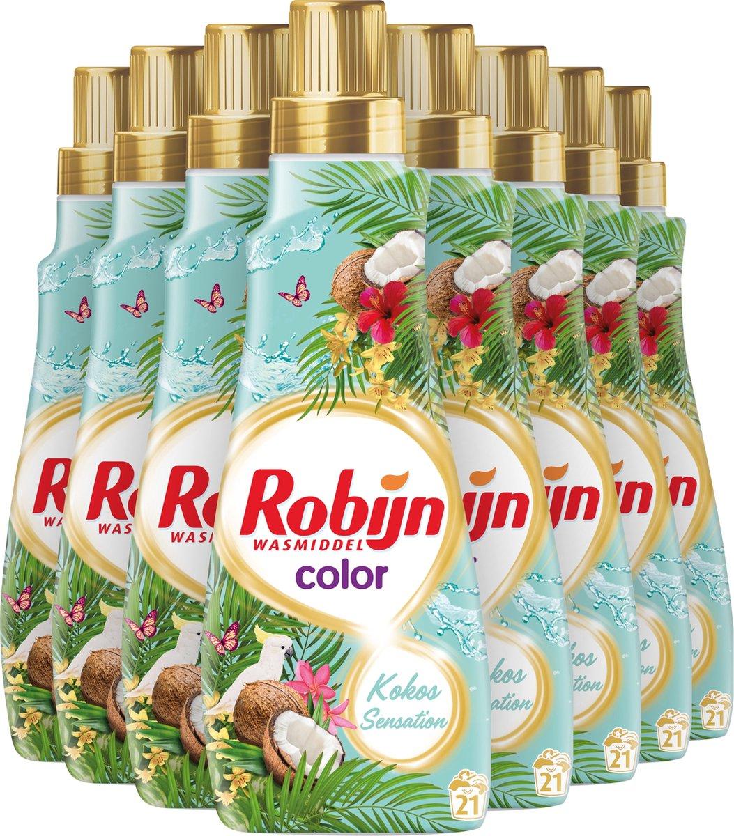 Robijn Klein en Krachtig Kokos Sensation Vloeibaar Wasmiddel - 8 x 21 wasbeurten - Voordeelverpakkin