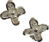 Zilveren oorstekers bloem met zirkonia