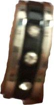 Petra's Sieradenwereld - RVS Ringen set 3 ringen zilverkleurig en zwart Maat 19 (122)