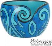 Scheepjes yarn bowl mango hout 11 x 12,5 cm Blue Leaf (duurzame webwinkel)