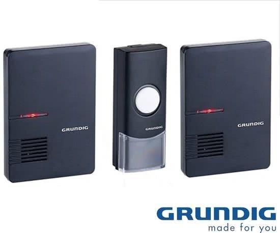 Grundig - Draadloze deurbelset - zwart - 1 zender - 2 ontvangers