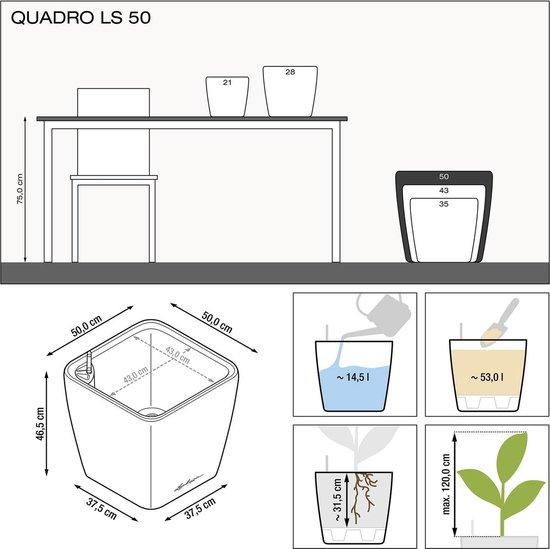 Lechuza - plantenbak QUADRO PREMIUM 50 LS wit hoogglans ALL-IN-ONE set
