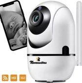 Smart Camera - Babyfoon met HD WiFi camera - Huisdierencamera - Beveiligingscamera - App voor iOs & Android - 1080 pixels - 360 graden - Draadloos - Bewegingsdetector - Infrarood nachtcamera - Two-way audio – SD-card en Cloud opslag - Smart Home Came