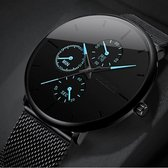 WiseGoods WS1209 - Luxe Ultradunne Herenhorloge - Horloge Heren met Stalen Band - Analoog - Quartz - Zwart met Blauw - ⌀ 40 mm