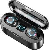HUAG Wireless Bluetooth 5.0 Earbuds - Volledig Draadloos In-Ear Oordopjes met Oplaadcase - Siliconen Oortjes - Met Microfoon L+R - Universeel Apple/Samsung/Android/iPhone/iPad/Tablet - Waterproof - Sport en Hardlopen - Zwart