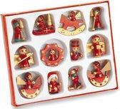 Set met 12x houten kerstboomhangers - voor mini kerstboompjes - 4 cm