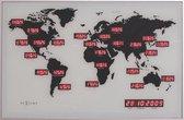 NeXtime World Time Digit - Klok - Rechthoekig - 36x55 cm - Aluminium - Zilverkleurig