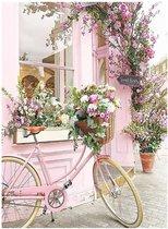 Happy Painter® Diamond Painting volwassenen - Roze Bloemenwinkel - 30x40cm