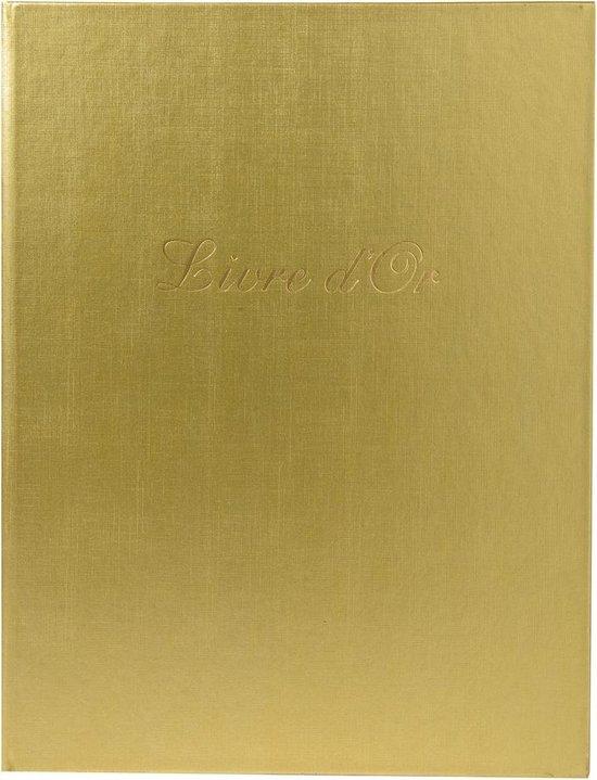 2x Gastenboek Balacron kaft met opschrift Livre d'Or - 100 pagina's - 27x22cm verticaal, Goud