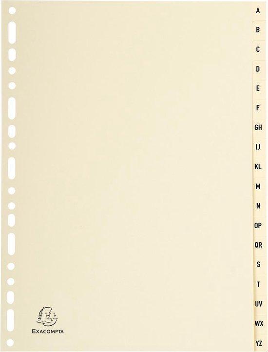 10x Tabbladen karton 155g - 18 tabs - A tot Z - A4, Ivoor